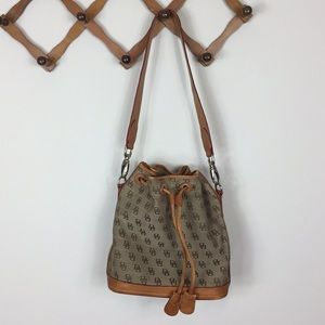 DOONEY & BOURKE LG VINTAGE MONOGRAM BUCKET BAG